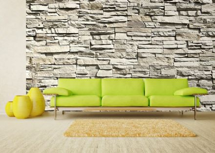 Grey stone wall photo wallpaper